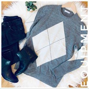 EQUIPMENT cashmere sweater grey and cream
